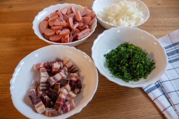 Chopped Ingredients White Beans With Bacon And Sausage