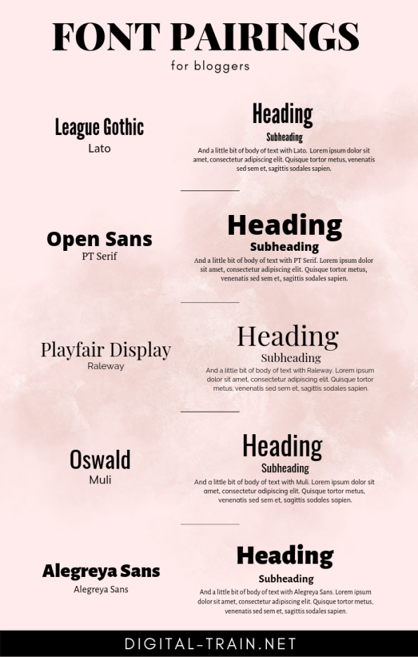Font Pairings For Bloggers Digital Train