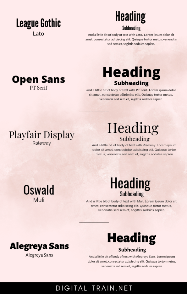 Font Pairing Examples | Digital Train.net