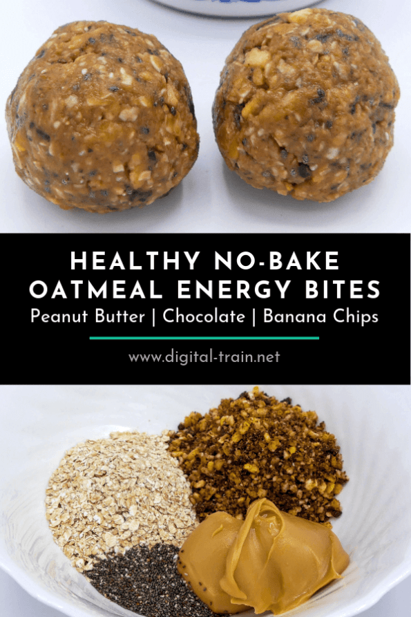 No Bake Chocolate Peanut Butter Banana Chip Bites Digital Train Pinterest