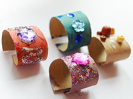 10. Toilet Paper Roll Bracelets