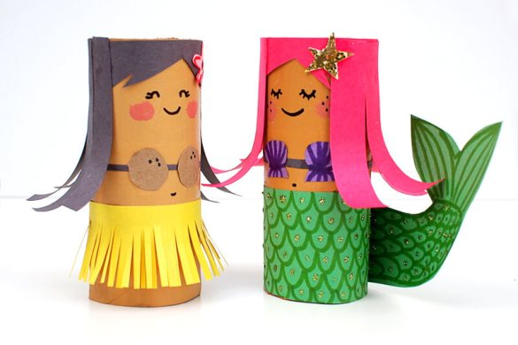 15. Toilet Roll Crafts Hula Girl And Mermaid