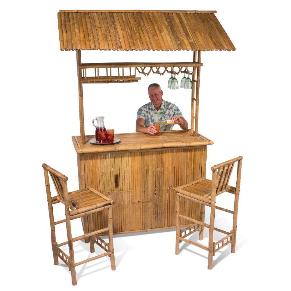 The Genuine Bamboo Tiki Bar - Hammacher Schlemmer on Backyard Tiki Bar For Sale id=20555