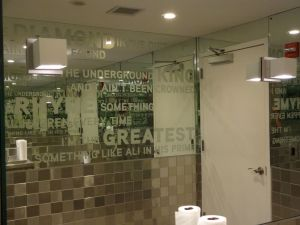 50 Cent used to record in the building. They kept the bathroom.