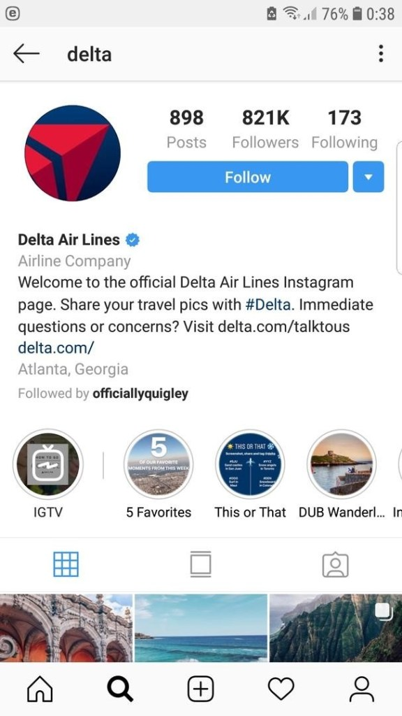 delta instagram bio