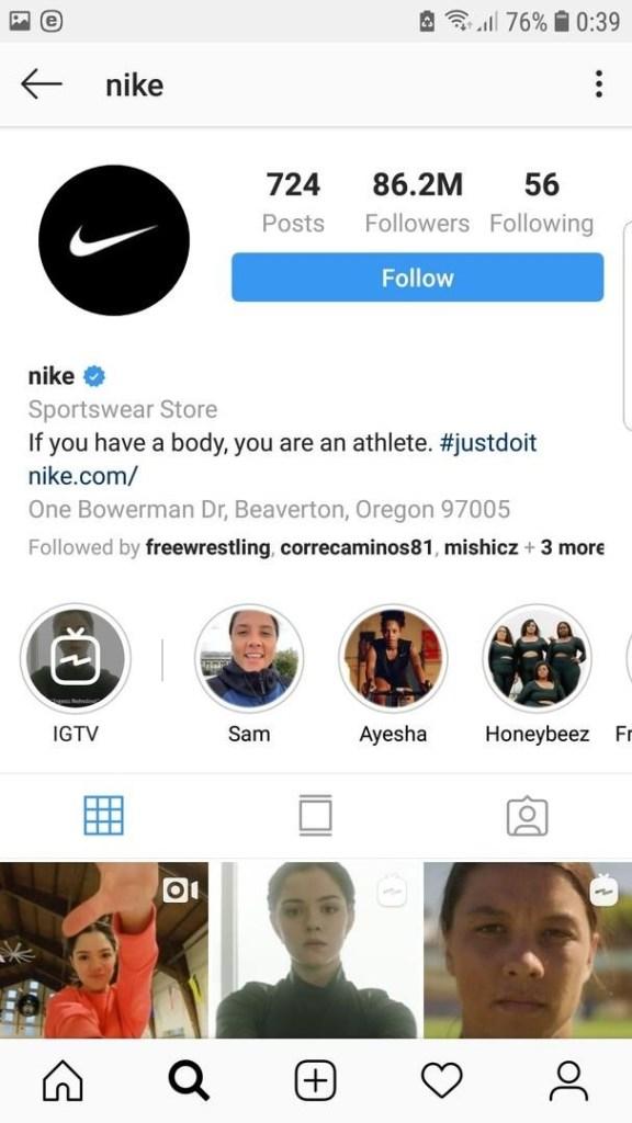 nike bio on instagram