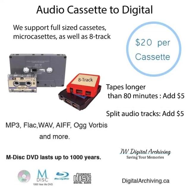 adudio cassette transfer service regina