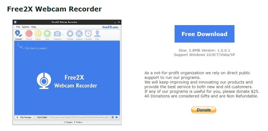 Aplikasi Free2X Webcam Recorder