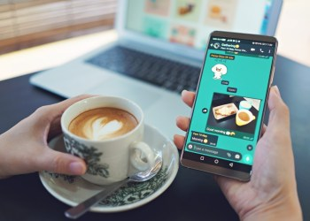 cara menyimpan status wa orang lain waspada 'pencurian' data pada whatsapp - female hand holding smart phone and drinking coffee in a modern cafe laptop computer on desk t20 G07o11 - Waspada 'Pencurian' Data Pada WhatsApp