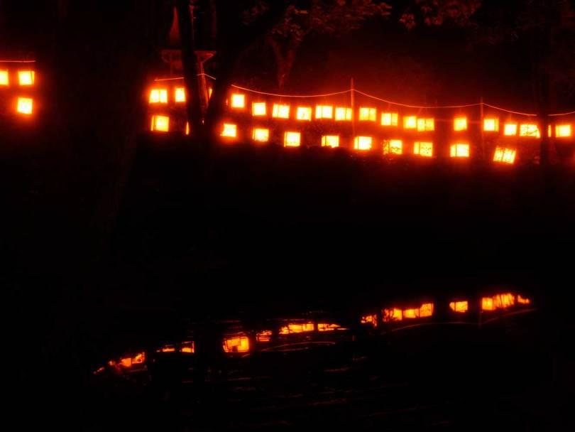 池に浮かぶ提灯