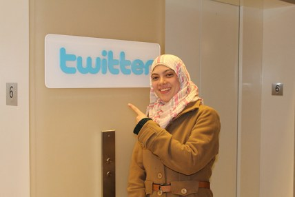UNDPI Palestinian Media Trainee, Hala Fawaz Elalami, at the Twitter offices in NYC for a meeting with Mark Lucky, Manager of Journalism and News.