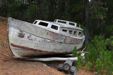 Shipwrecked. Boat washed ashore on Robinson Caruso Island.