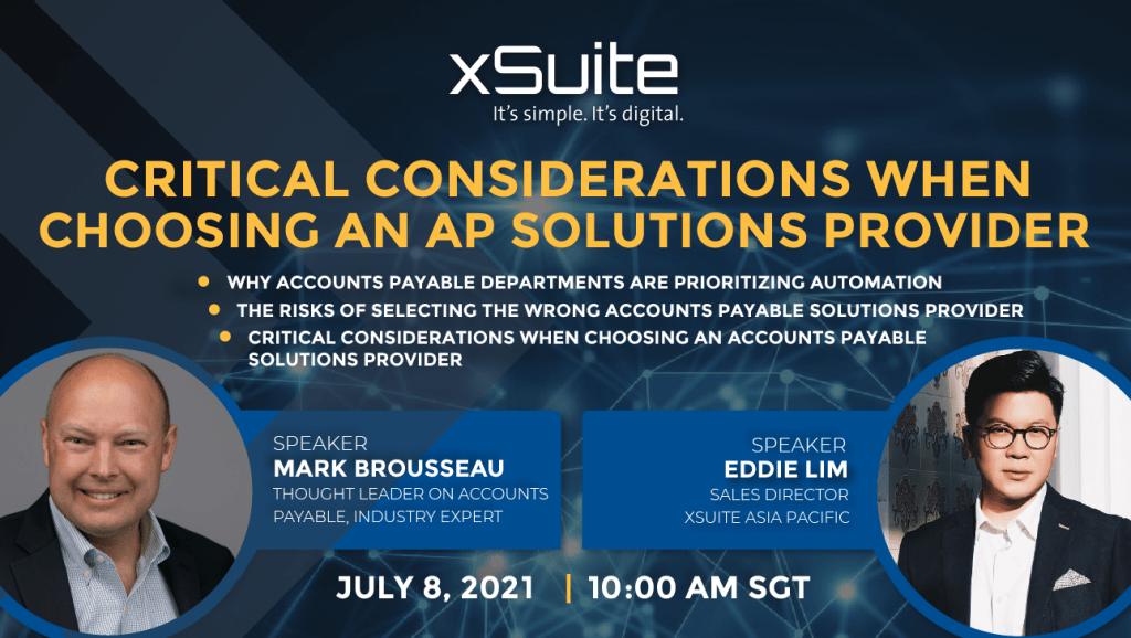 Webinar – Critical Considerations when choosing an AP Solutions Provider | 8 Jul 21