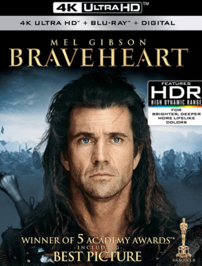 BRAVEHEART 4K UHD VUDU or 4K UHD iTunes (USA) / 4K UHD iTunes (CANADA) DIGITAL COPY MOVIE CODE (READ DESCRIPTION FOR REDEMPTION SITE)