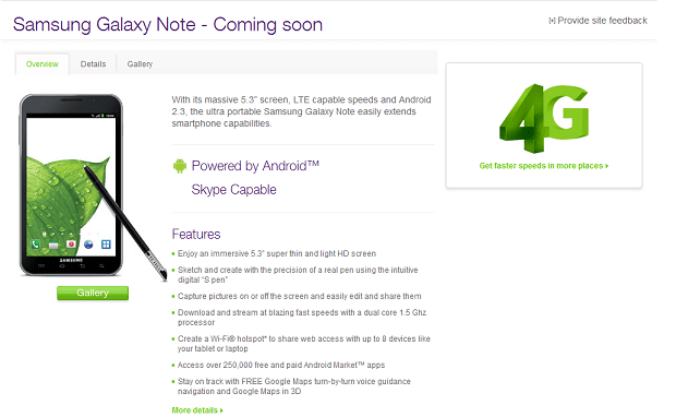 Samsung Galaxy Note in Canada