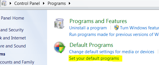 Set Default Program In Windows