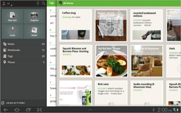 Evernote Android Tablet Interface