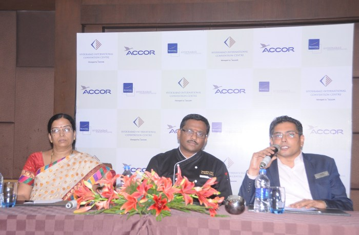 L-R Jyothi Valaboju, Muthu Kumar (Executive Chef) & Mr. Shyam Sunder (F&B Director)
