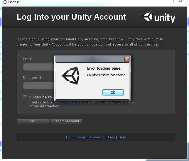 Solved] Unity 3D License: Couldn't Resolve Host Name Error