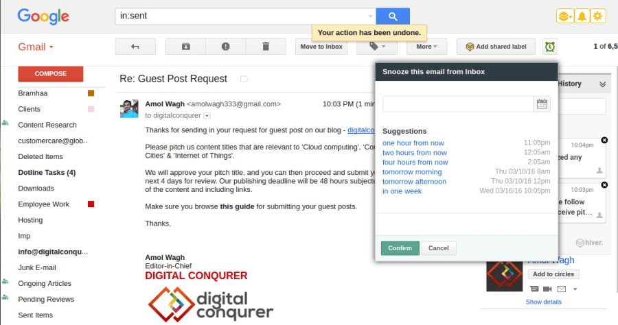 Hiver - Email Reminders for Gmail