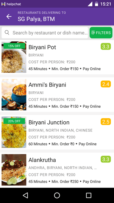 Helpchat & Zomato Tie Up
