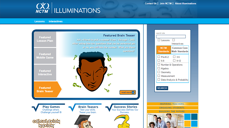Illuminations - Website for Math Teachers