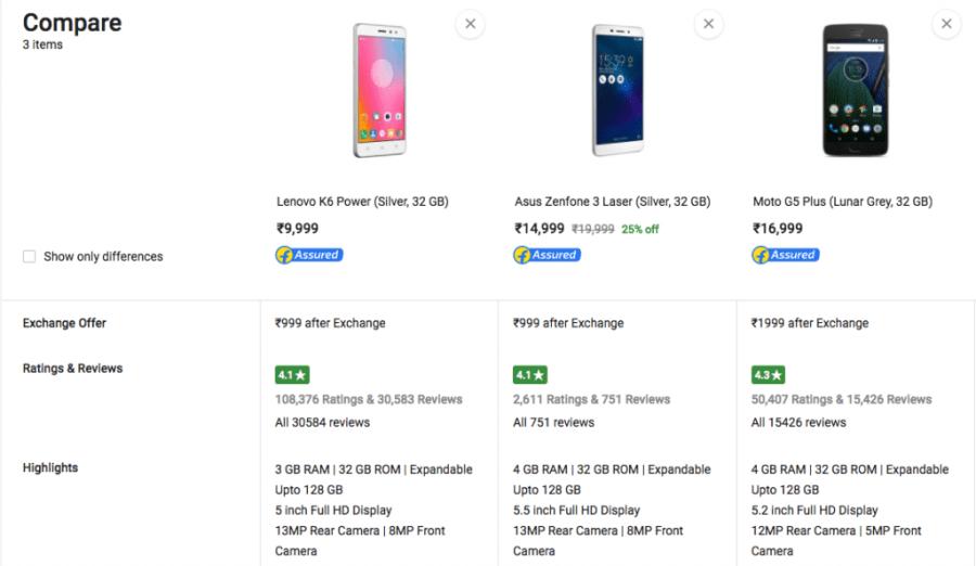 Compare smartphones online