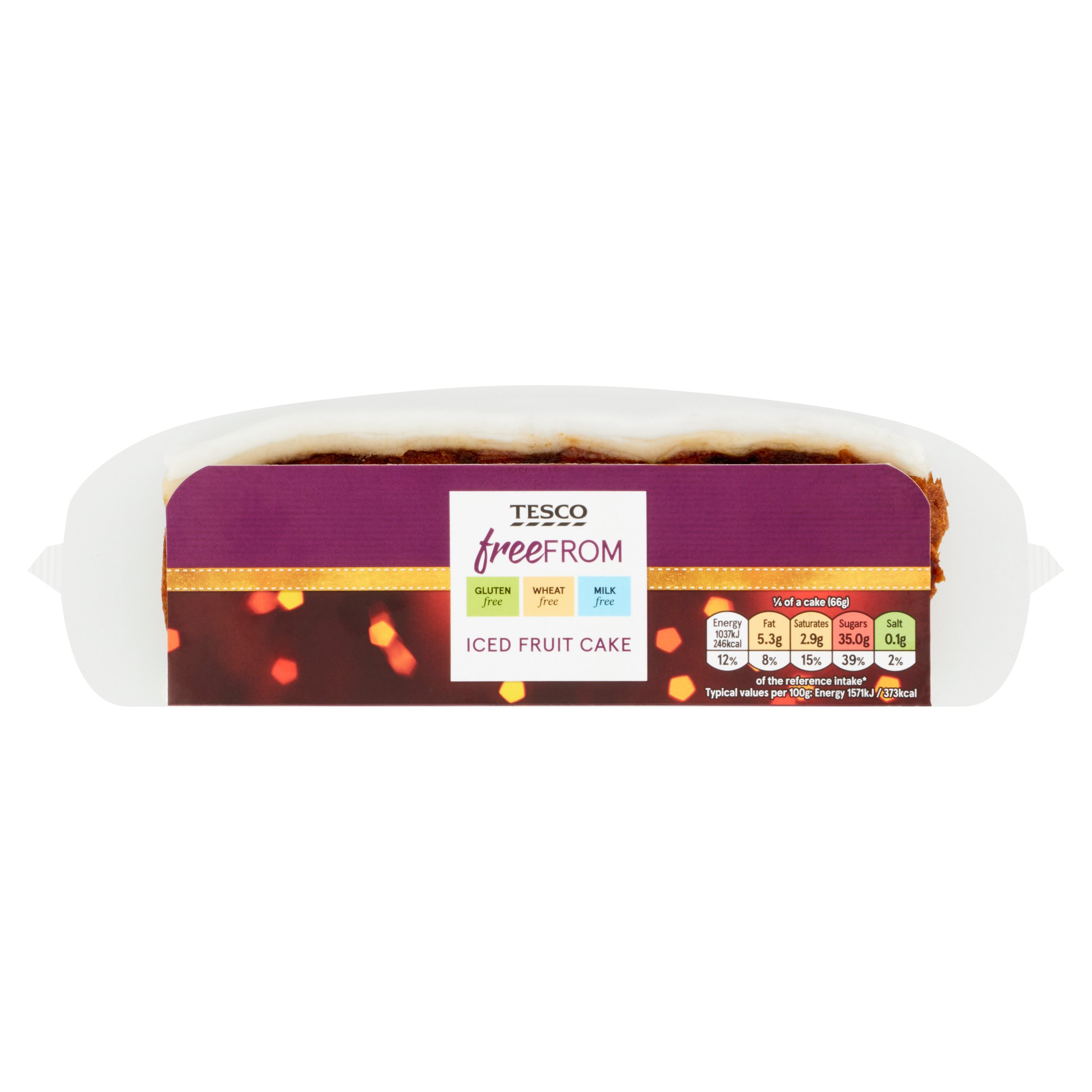 Tesco Free From Iced Fruit Slab Cake 400G