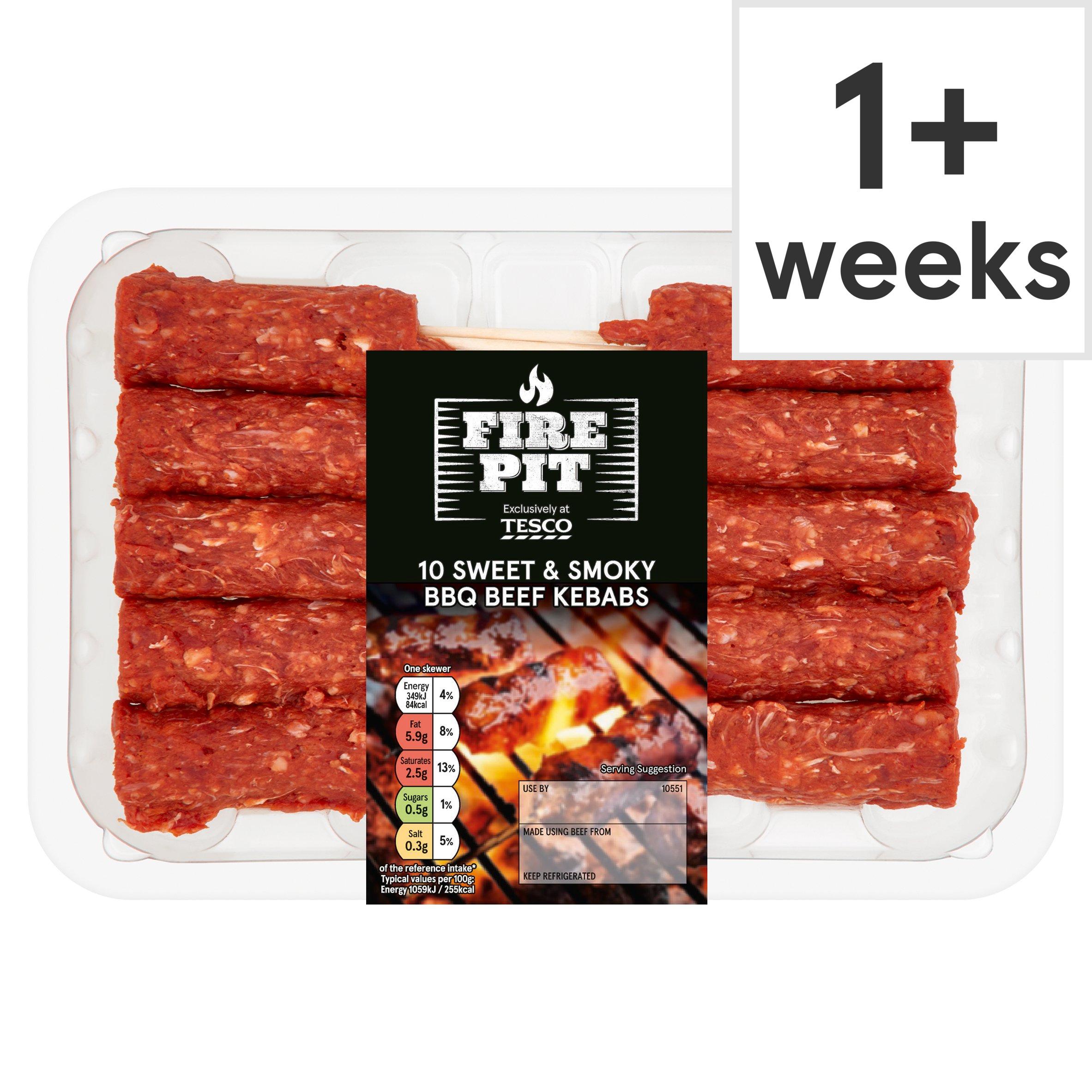 Tesco Fire Pit 10 Bbq Beef Kebabs 400G
