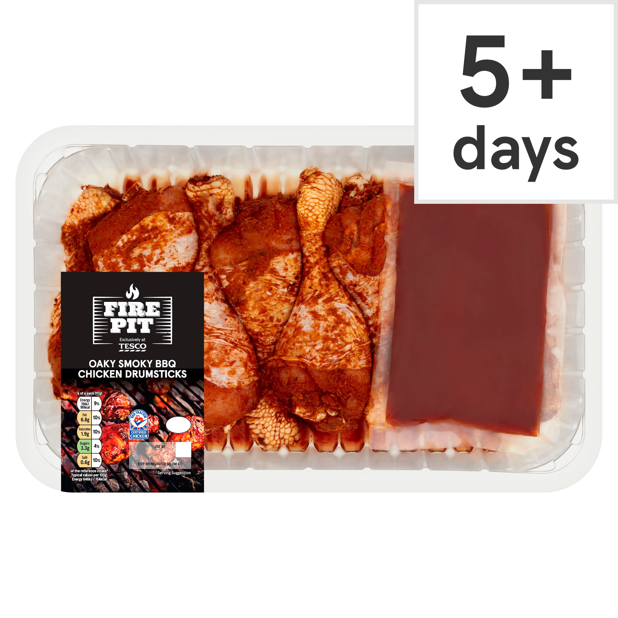 Tesco Fire Pit Oaky Smoky Bbq Chicken Drums 900G