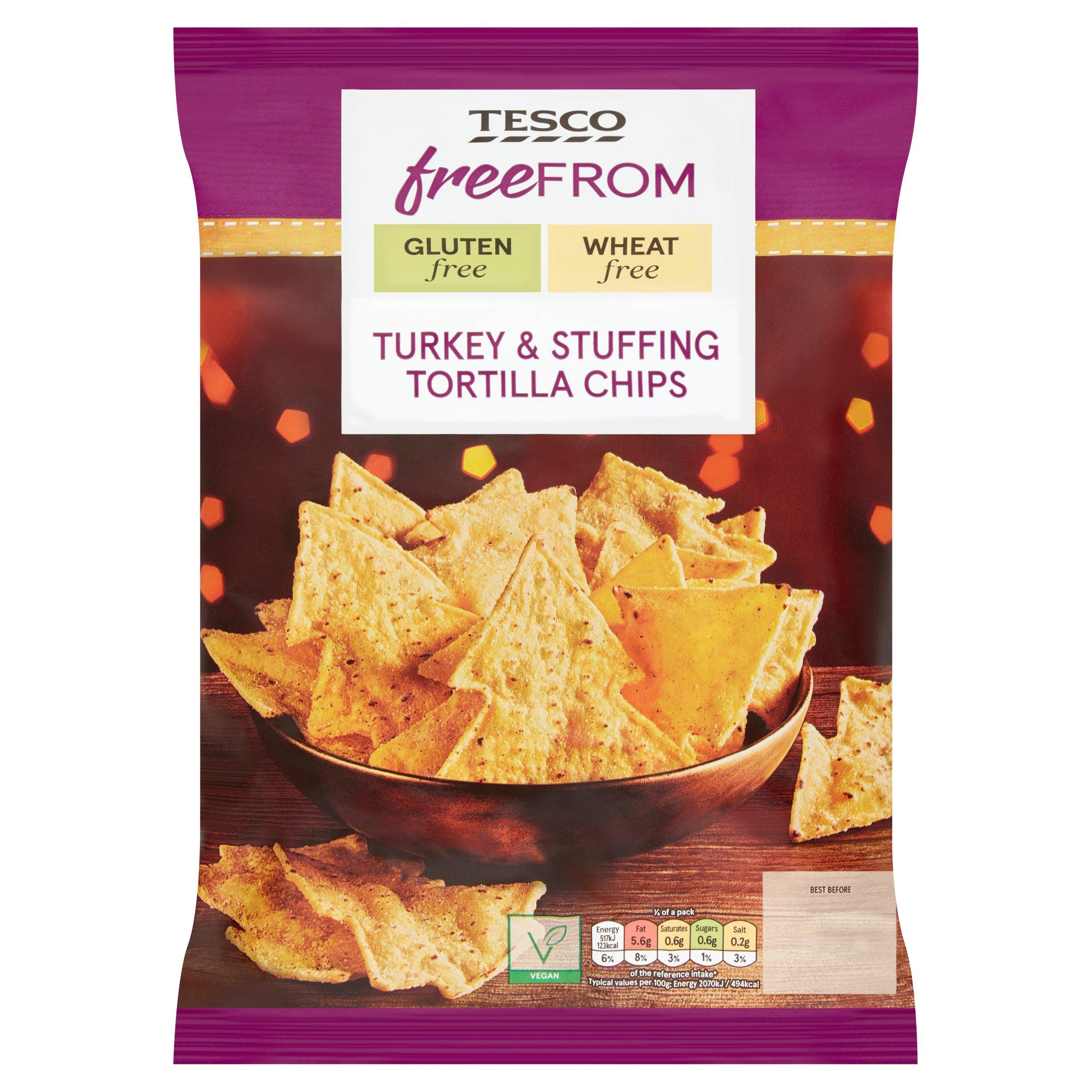 Tesco Free From Turkey & Stuffing Tortilla Chips 150G