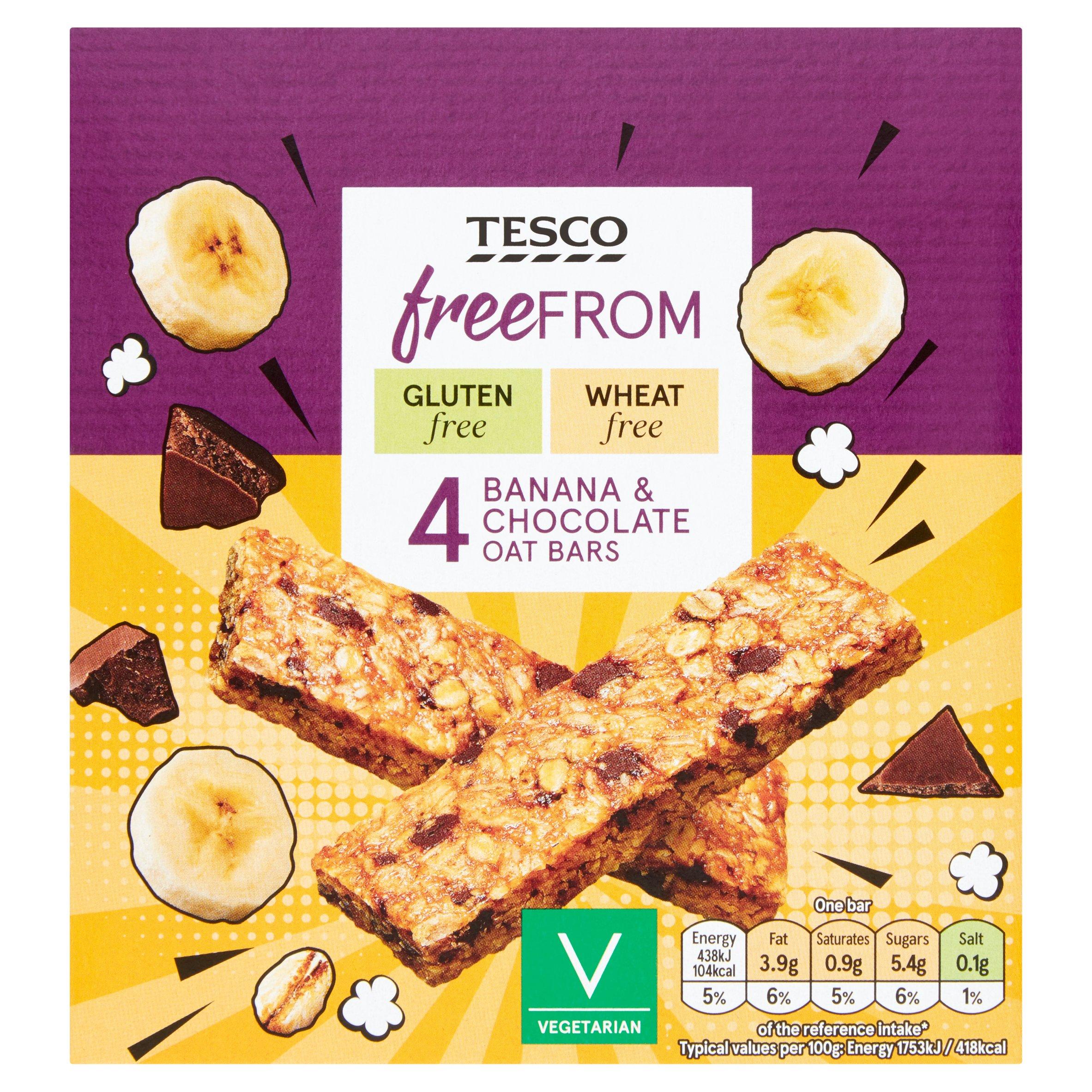 Tesco Free From 4 Banana & Chocolate Oat Bar 4X25g