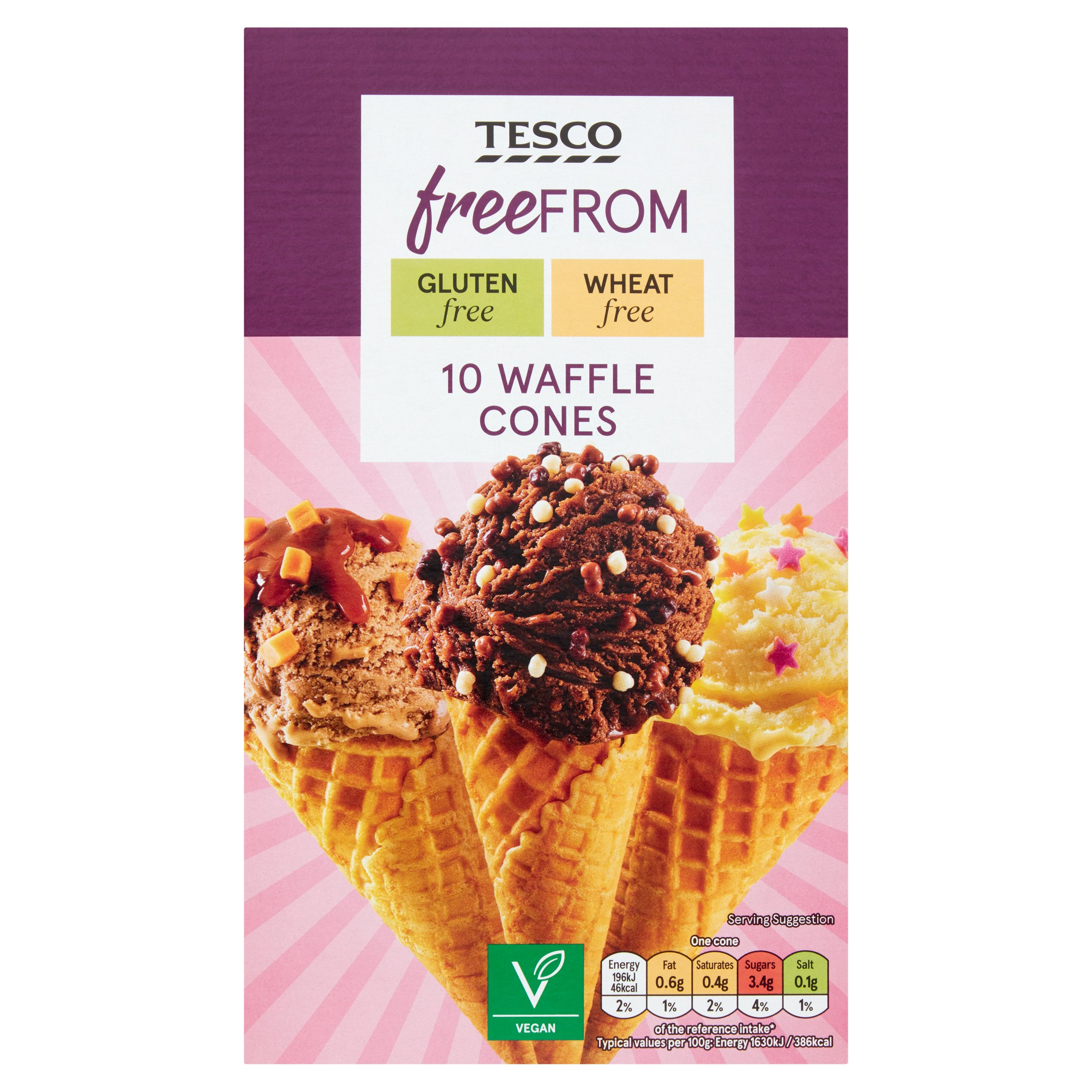 Tesco Free From 10 Waffle Cones