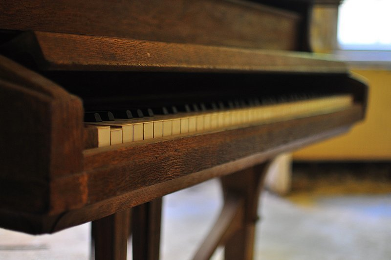 old piano keys from a Seiler Piano
