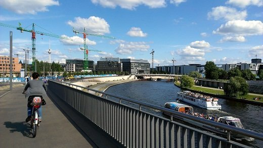 Biking along the Spree in Berlin