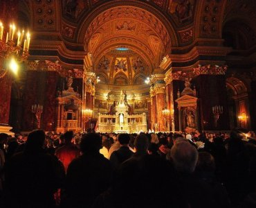 View of the Altar inside the St Stephens Basilica in Budapest Hungary during easter mass