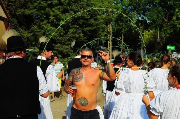 A Sziget Tourist with Traditional Hungarian Dancers