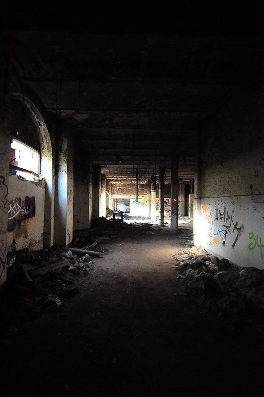 crumbling factory hall