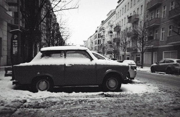 Snow covered Trabi in Berlin Germany