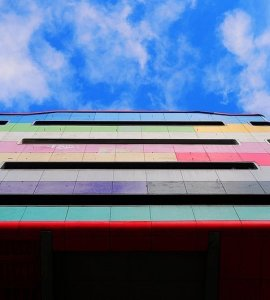facade view of the bierpinsel in steglitz, berlin, germany