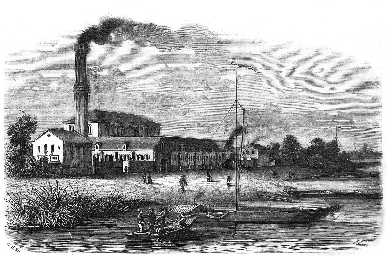 Die Gebäude der Berliner Wasserwerke, abgebildet 1858 in der Gartenlaube