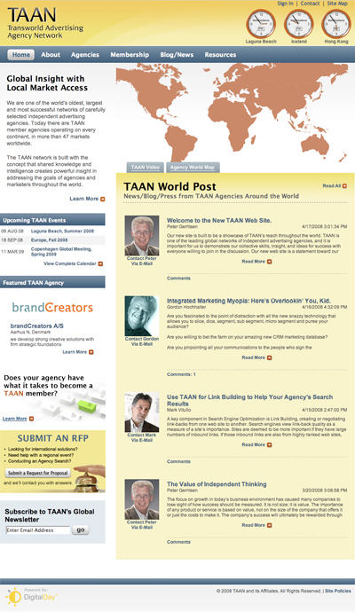 The new TAAN site, launched April 17, 2008