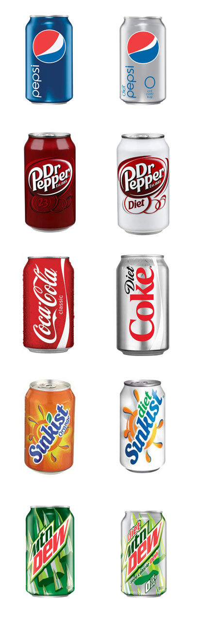Comparison of regular and diet soda cans