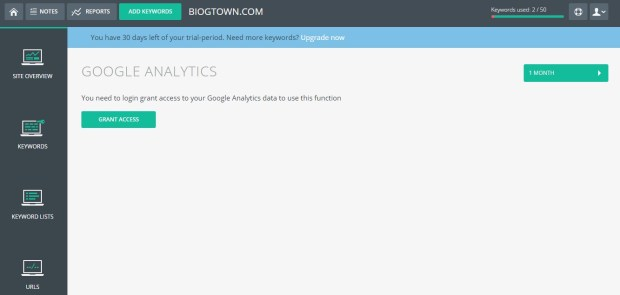 Tiny Ranker Google Analytics
