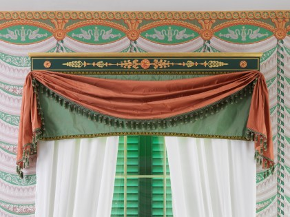 A view of the Dining Room curtain and cornice.
