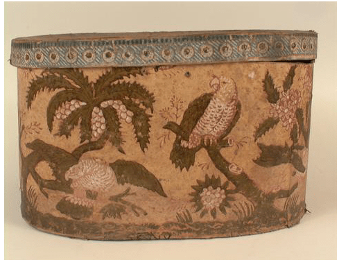 Cardboard bandbox covered with block-printed paper of green, white, and red parrots, 1820-1830.