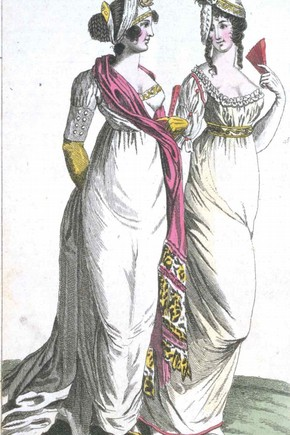 1801 Ladies Magazine fashion plate. Courtesy of the Victoria & Albert Museum.