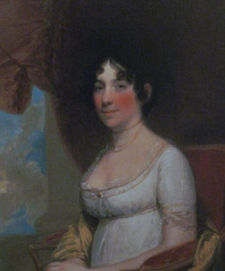 A copy of the portrait of Dolley Madison by Gilbert Stuart.