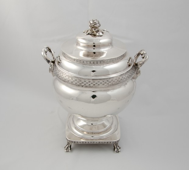 Whartenby & Bumm silver sugar bowl (1812-1818) with Madison provenance through James C. McGuire, executor of Dolley Madison's and John Payne Todd's estate.