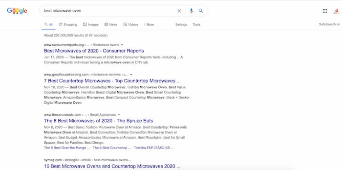 search intent of a keyword